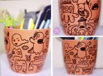 Monsters ceramic pencilholder by mjdaluz