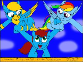 Rainbow Dash And Flashdance Carrying Dan by Sricketts14381