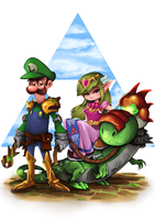 Luigi  Princess Zelda Yoshi by darkchapolin