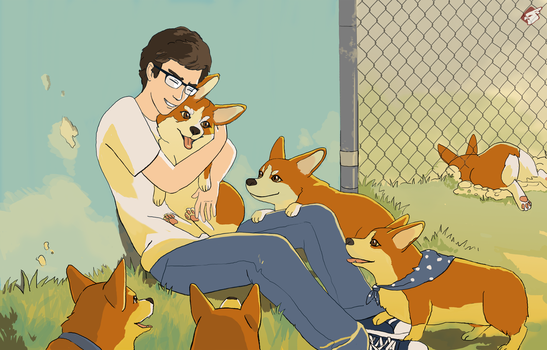 Leo and his Corgis by Camb0t