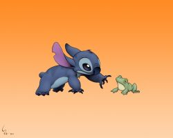 Stitch and Froggy Wallpaper by Ribera