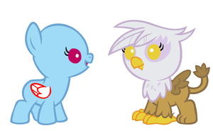 Baby meets griffon- base by 101PandaManiac101