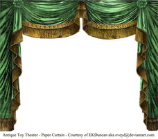 Paper Theater Curtain Emerald by EveyD
