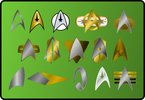 Star Trek insignia and  combadges by jonizaak