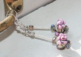 Victorian Rose Lampwork Earrings by copperrein