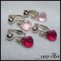 Ruby and Pink Clip Ons by 1337-Art