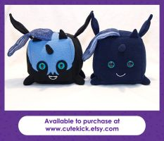 Luna and Nightmare Moon Companion Cube Ponies by cutekick