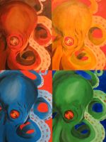 Octopus in different color schemes by TheNessyMonster