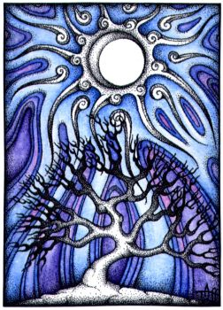 Winter Moon ACEO by TapWaterTaffy