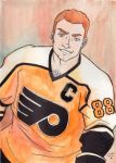 Eric Lindros watercolor sketch by MichaelLinkJr