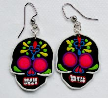 Commission - Day of the Dead Sugar Skull Earrings by Bon-AppetEats