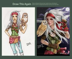 The Girl and her Owl - Before and A Year later by mortimersparrow