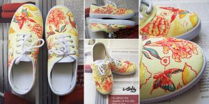 Vintage Flower light shoes by saltyshadow