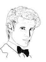 11th Doctor BW by disposablepal