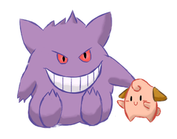 Gengar And Cleffa by puffley115