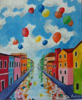 Colourful waterway by annabellepainter