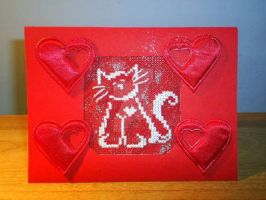 Cross stitch valentine cat by Enithien