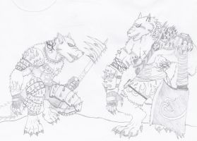 Gahiji and Majai the werewolves by NINJAWERETIGER
