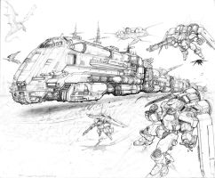 RIFTS NG Hovertrain and Crimson Talon Convoy by ChuckWalton