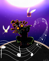 Moonlight Melody - Skull Kid by LeahFoxDen