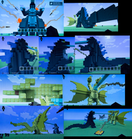 Minecraft Godzilla vs King Ghidorah by DinoHunter2