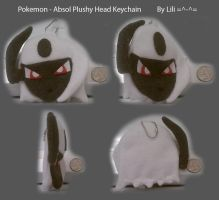 Absol Head Plush Keychain by LiliNeko