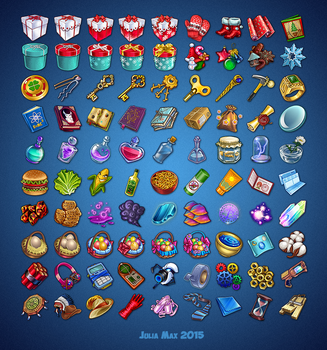 Icons for social game by maximova