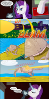 Rarity Vs. A Giant Crab by DeusExEquus