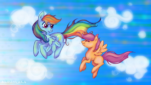 Scootaloo And Rainbow Dash - Flying High by Alouncara