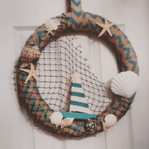 Burlap Beachy Wreath by JadasArtVision