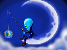 megamind fishing on the moon by lugiamaria