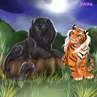 Lion and tigress by TigresaDaina