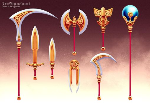 Golden Weapons Concept by slipled