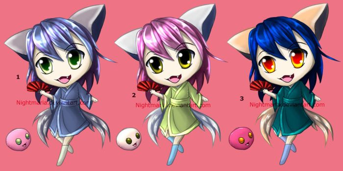 Adoptable Yukata chibis: 3/3 OPEN! Paypal! by Nightmaria