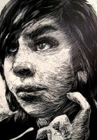 Scratchboard Self Portrait by jackieducrostudio