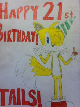 Birthday Tails 1 by tailsthefoxlover715