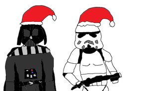 Vader and Stormtrooper with Santa hats by Simpsonsfanatic33