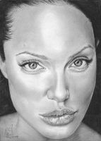 Angelina Jolie Beauty Drawing by riefra