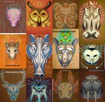 animal totems, menagerie series by resonanteye