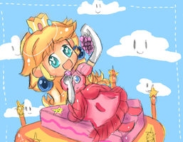 Peach - Grapes on the cake by Emiko-Fubuki
