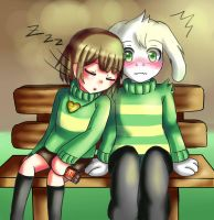 Chara x Asriel by Cleanne-chan