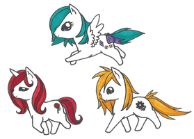Chibi Ponies: Primaries by SlightInsanity