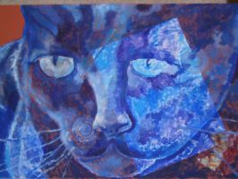 Blue cat face by boriales