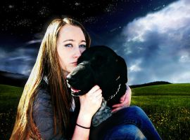 A Girl and her dog by Scarrett
