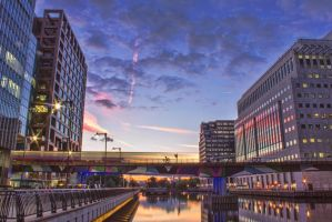 Sunset in Canary Wharf by JSWoodhams