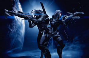 Mass effect Legion and Tali by Demon551