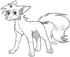 PerfectFill Fox Lineart Template for MS Paint by zurisu