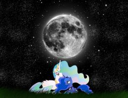 Luna and Celestia by lovergirl786