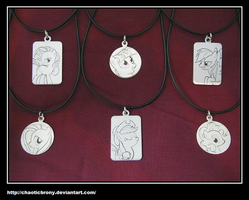 Mane 6 Engraved Pendants by SilverSlinger