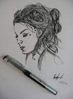 Kat Von D Pen Sketch by Inked-Hooves